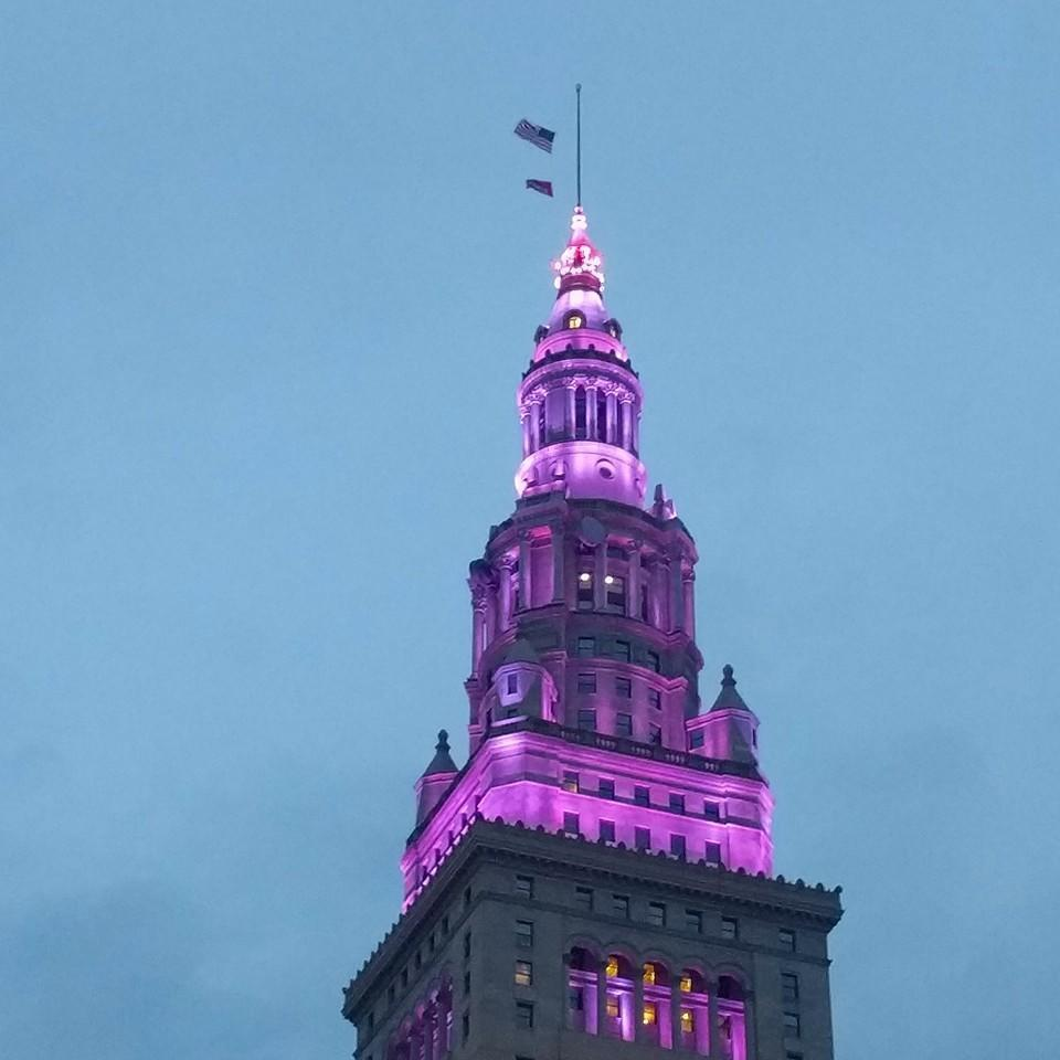 """<p>In Cleveland, the home of rock 'n' roll, Prince was honored with a final """"dance"""" in the sky. The building's animated lights shone purple and could be seen miles away. <i>(Photo: Twitter)</i></p>"""