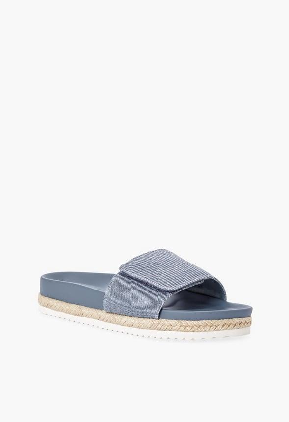 """<p>This <span>JustFab Jessie Slide</span> ($45) is begging to be paired with your favorite pair of <a href=""""https://www.popsugar.com/fashion/Best-High-Waisted-Jeans-43862514"""" class=""""link rapid-noclick-resp"""" rel=""""nofollow noopener"""" target=""""_blank"""" data-ylk=""""slk:high-waisted jeans"""">high-waisted jeans</a>. </p>"""