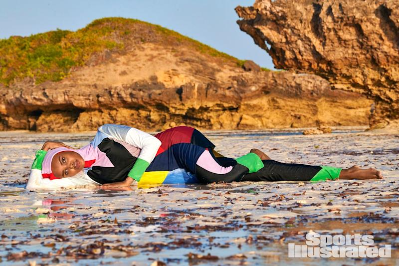 Aden posed in two custom burkinis for the shoot, including this one by Cynthia Rowley. (Photo: Yu Tsai)