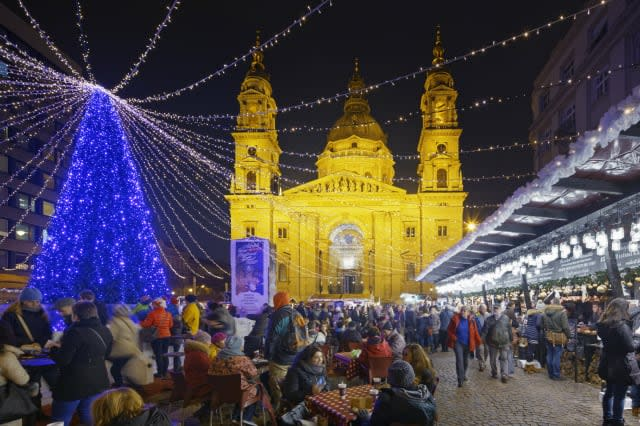 Christmas market in St Stephens Basilica Square.