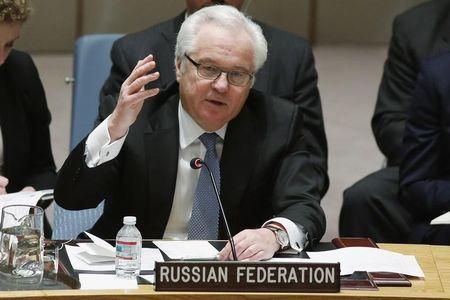 Russian Ambassador to the United Nations Vitaly Churkin addresses members of the U.N. Security Council during a meeting about the Ukraine situation, at the U.N. headquarters in New York, March 6, 2015. REUTERS/Eduardo Munoz