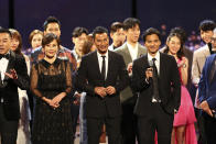 Judges Carina Lau, Simon Yam and Stephen Fung at Star Search 2019. (PHOTO: Mediacorp)
