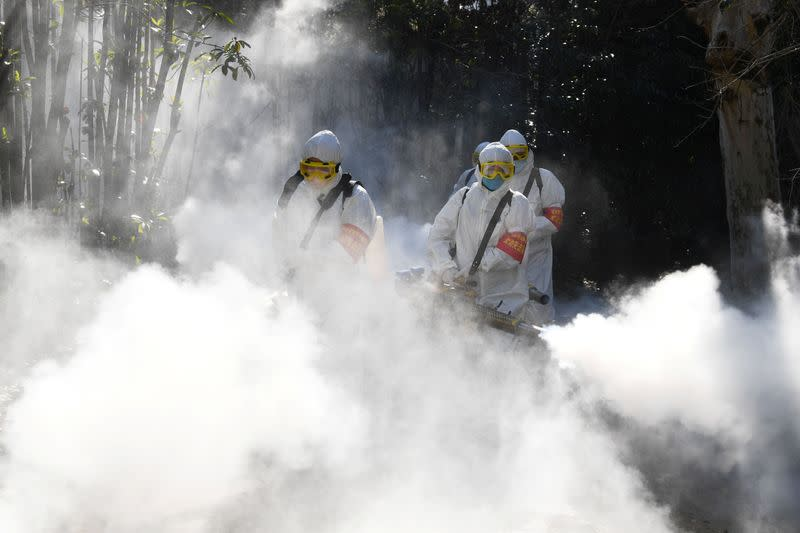 Sanitation workers disinfect a residential compound, as the country is hit by an outbreak of the novel coronavirus, in Bozhou