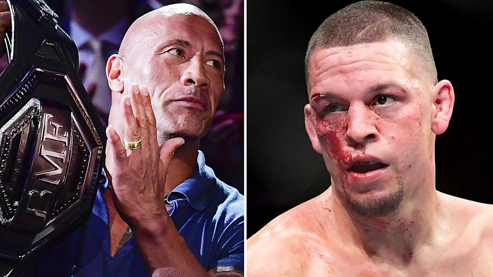 Former WWE superstar Dwayne Johnson has been called out by UFC star Nate Diaz, who was irritated the Hollywood actor presented rival Jorge Masvidal with the BMF belt after UFC 244. Pictures: Getty Images