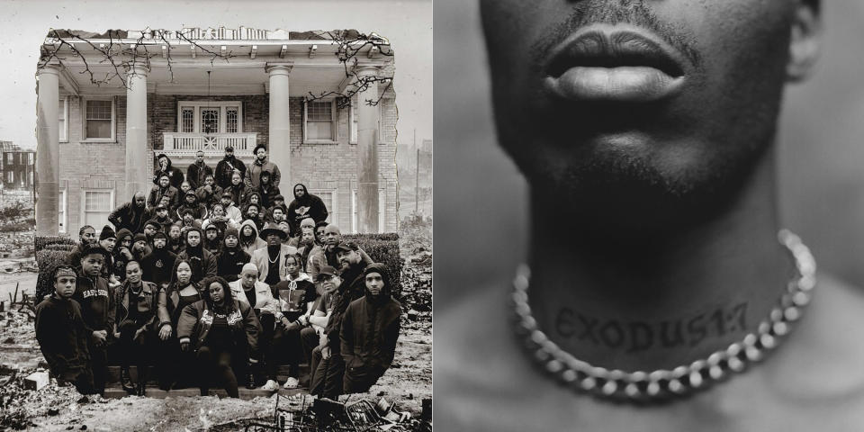 """This combination of photos shows cover art for """"Fire In Little Africa"""" by various artist, left, and """"Exodus,"""" an album by the late rapper DMX. (Motown Records and Black Forum via AP, left, and Def Jam via AP)"""