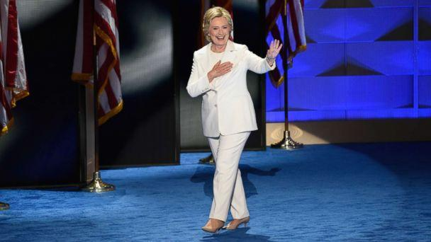 PHOTO: Hillary Clinton, wearing a white pantsuit, takes the stage to accept the Democratic nomination for president, July, 28, 2017 in Philadelphia. (Ida Mae Astute/ABC)