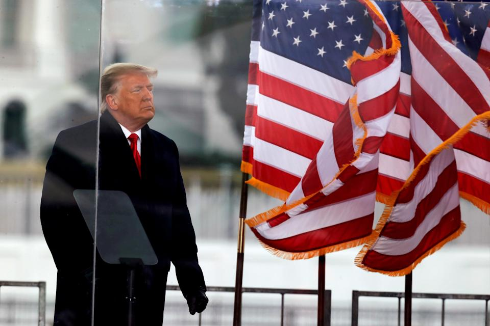 <p>Former US president Donald Trump addresses crowds on 6 January </p> (REUTERS)
