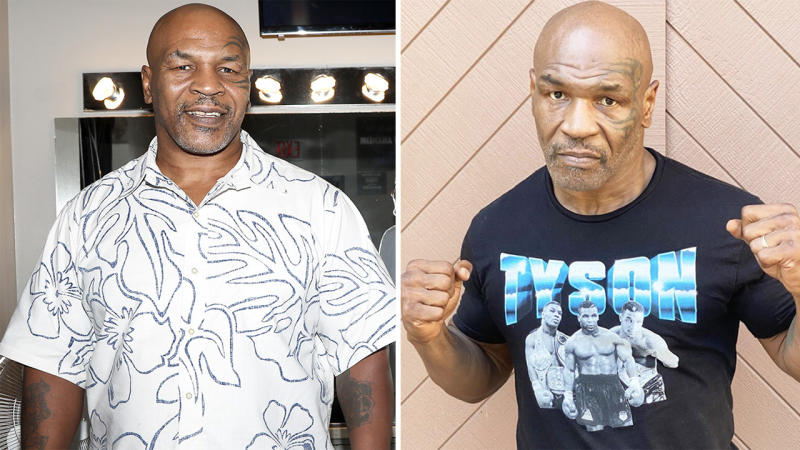Mike Tyson (pictured left) posting for a photo and (pictured right) with his fists up.
