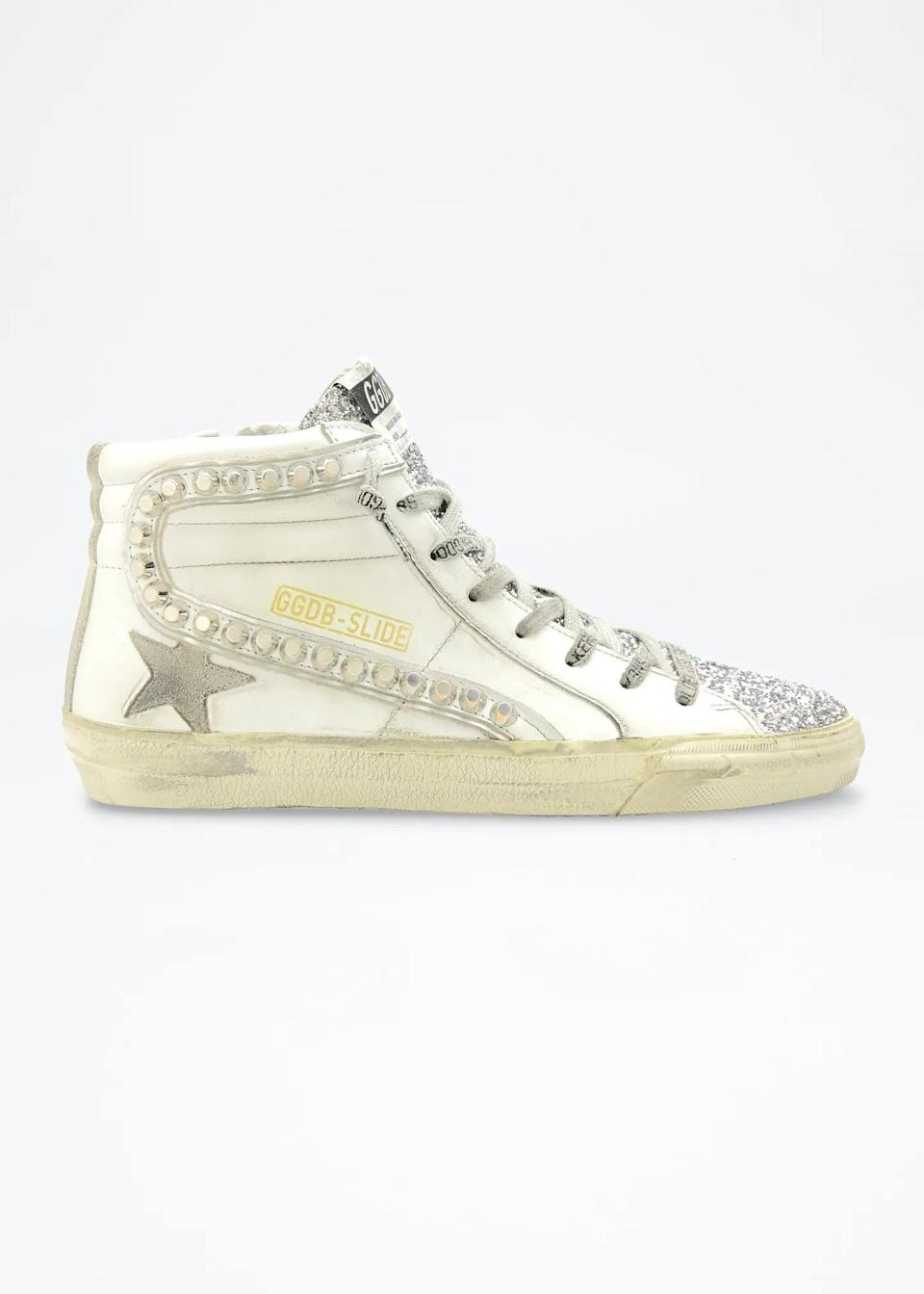 <p>For a dash of glitter, try these <span>Golden Goose Glitter High-Top Stud Sneakers</span> ($605).</p>