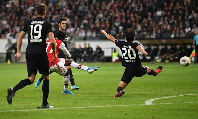 Saka scored Arsenal's second goal in the win at Eintracht Frankfurt (Photo by David Price/Arsenal FC via Getty Images)