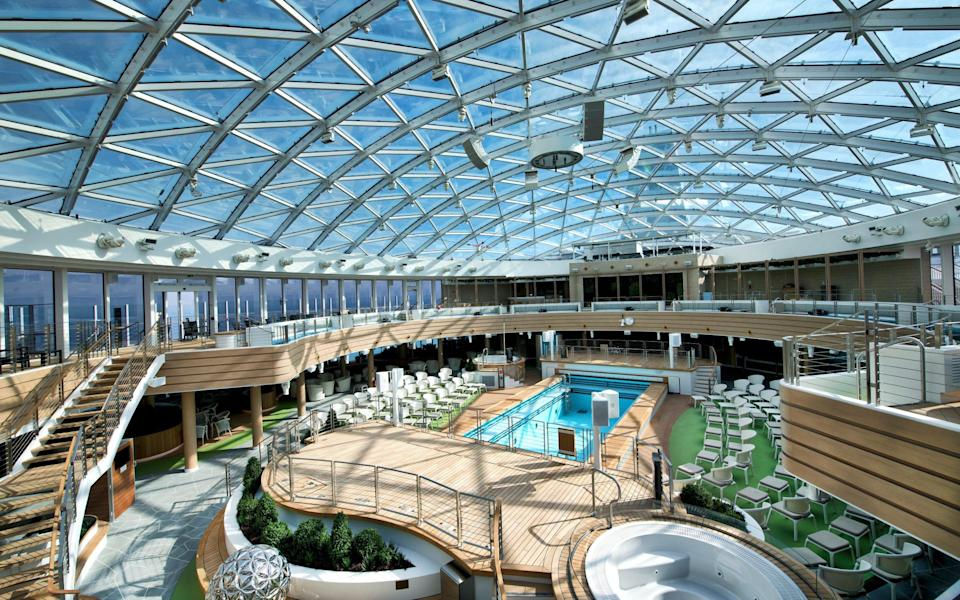 Iona's SkyDome: an all-weather, glass-roofed venue that lets the outside in - P&O Cruises