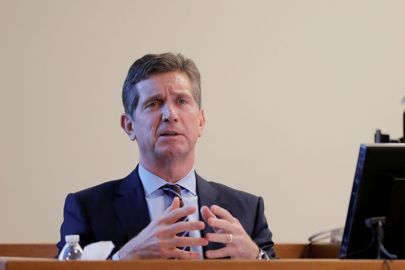 FILE PHOTO: Alex Gorsky, chairman and CEO of Johnson & Johnson, takes the stand in New Jersey Supreme Court in New Brunswick, New Jersey