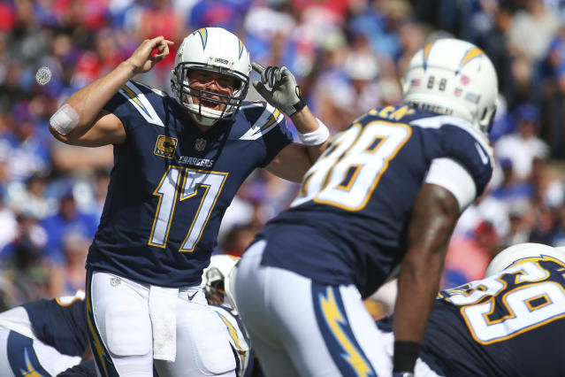 FILE - In this Sunday, Sept. 16, 2018, file photo, Los Angeles Chargers quarterback Philip Rivers (17) calls a play at the line during the first half of an NFL football game against the Buffalo Bills in Orchard Park, N.Y. The Chargers and the Rams will meet on the Coliseum field Sunday for the first time since the two franchises relocations to Los Angeles.(AP Photo/Rich Barnes, File)
