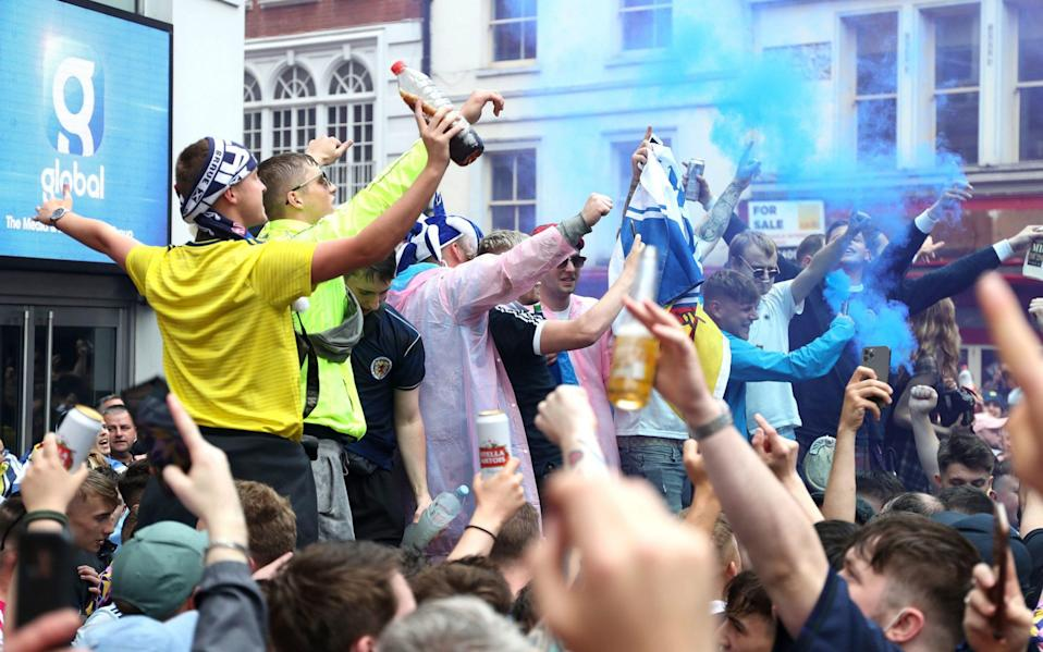 Scotland fans gather in Leicester Square before the UEFA Euro 2020 match between England and Scotland later tonight. - Kieran Cleeves/PA Wire