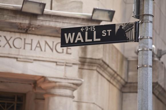 Wall Street sign in front of the New York Stock Exchange.