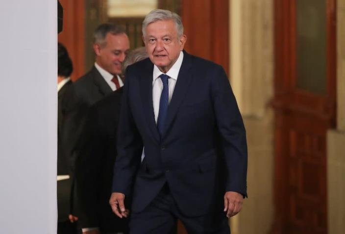 Mexico's President Andres Manuel Lopez Obrador arrives to attend a news conference in Mexico City