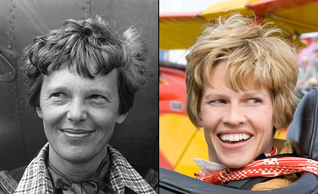 """AMELIA EARHART -- Aviation Pioneer  Played by: <a href=""""http://movies.yahoo.com/movie/contributor/1800020739"""">Hilary Swank</a> in <a href=""""http://movies.yahoo.com/movie/1810038855/info"""">Amelia</a> (2009)    Though this is movie doesn't come out until October, it will be the second film this year to feature the famed aviator. <a href=""""http://movies.yahoo.com/movie/contributor/1800018895"""">Amy Adams</a> played her -- or, more precisely, a reanimated wax figure of her -- in """"<a href=""""http://movies.yahoo.com/movie/1810028001/info"""">Night at the Museum: Battle of the Smithsonian</a>."""""""