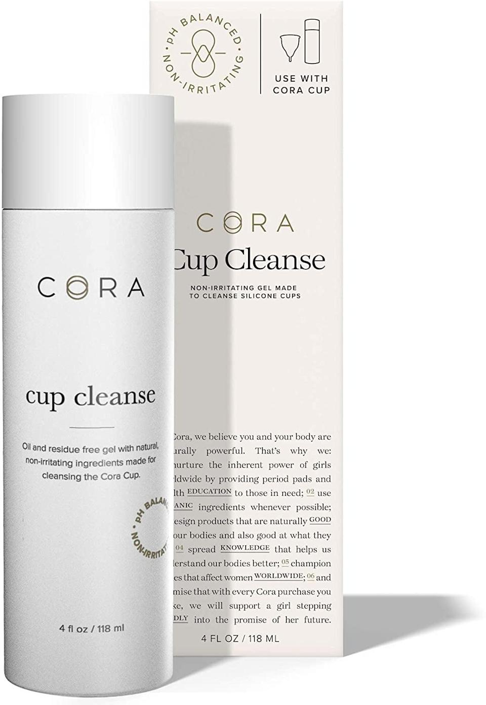 <p>The <span>Cora Menstrual Cup Cleanse</span> ($12) uses ingredients like cucumber extract and witch hazel to help cleanse the cup, as well as lemon extract to prevent staining. The formula is also free of fragrance and oil.</p>