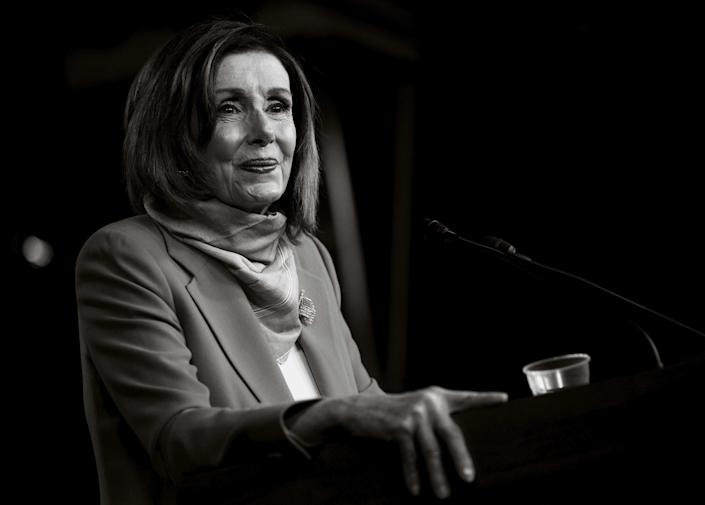 House Speaker Nancy Pelosi takes a question from a reporter during a news conference on Capitol Hill in Washington, D.C., on April 24, 2020.