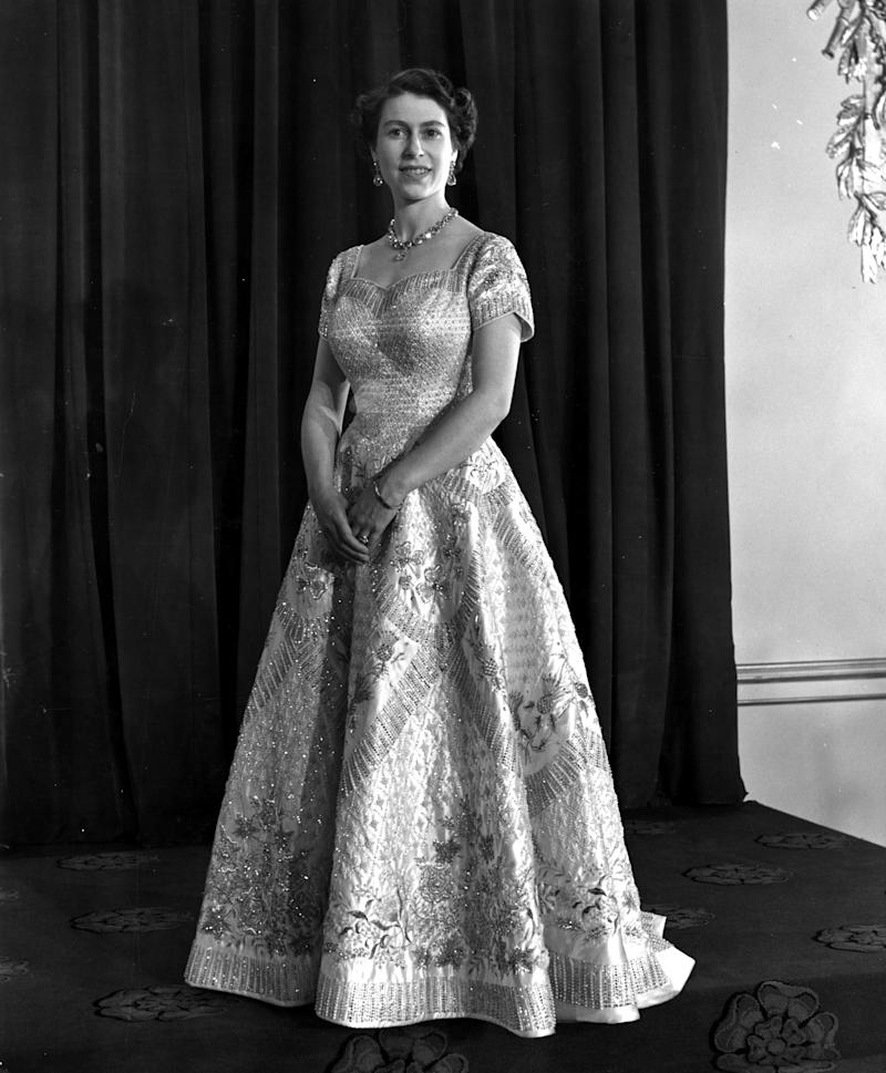 Queen Elizabeth's coronation gown.  (Central Press via Getty Images)