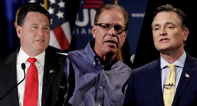 Todd Rokita, Mike Braun, Luke Messer. (Photos: Darron Cummings/AP, Michael Conroy/AP, Darron Cummings-Pool/AP)