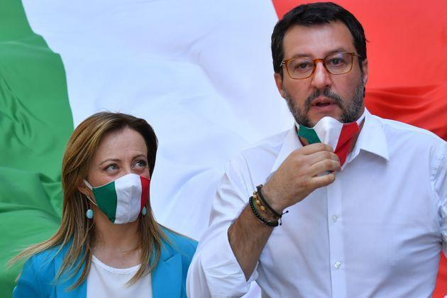 Head of the League party Matteo Salvini and head of the Brothers of Italy (FdI) party, Giorgia Meloni march during a united rally along with the Forza Italia (FI) party for a protest against the government on June 2, 2020 on Via del Corso near Piazza del Popolo in Rome, as the country eases its lockdown aimed at curbing the spread of the COVID-19 infection, caused by the novel coronavirus. (Photo by Alberto PIZZOLI / AFP) (Photo by ALBERTO PIZZOLI/AFP via Getty Images) (Photo: ALBERTO PIZZOLI via Getty Images)