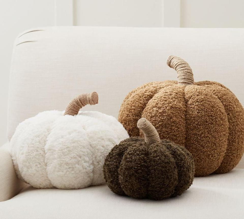 """<p>""""My apartment gets a full fall transformation beginning Sept. 1, and these <span>Pottery Barn Cozy Pumpkin Pillows</span> ($30-$50) are the perfect seasonal addition to my living room decor. They're festive, comfy, and super soft, so I can already see myself cuddling up with all three in my arms during a <a class=""""link rapid-noclick-resp"""" href=""""https://www.popsugar.co.uk/Halloween"""" rel=""""nofollow noopener"""" target=""""_blank"""" data-ylk=""""slk:Halloween"""">Halloween</a> movie marathon."""" - Chanel Vargas, assistant editor, Trending and Viral Features</p>"""