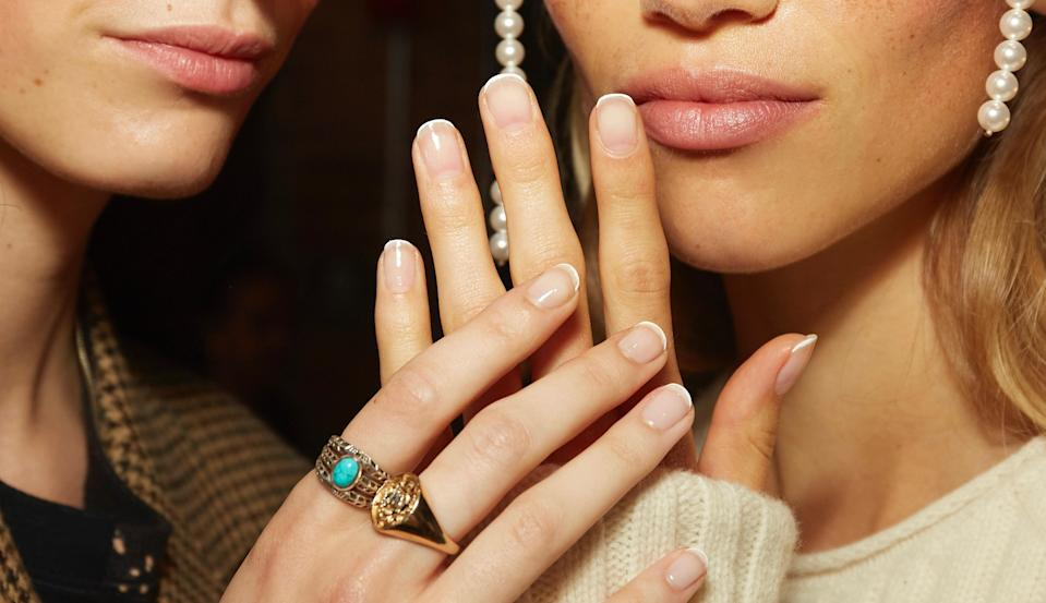 French tips have been back in a big way the past year, but if you want a more modern look, go with a super-skinny tip, like at the Khaite show.