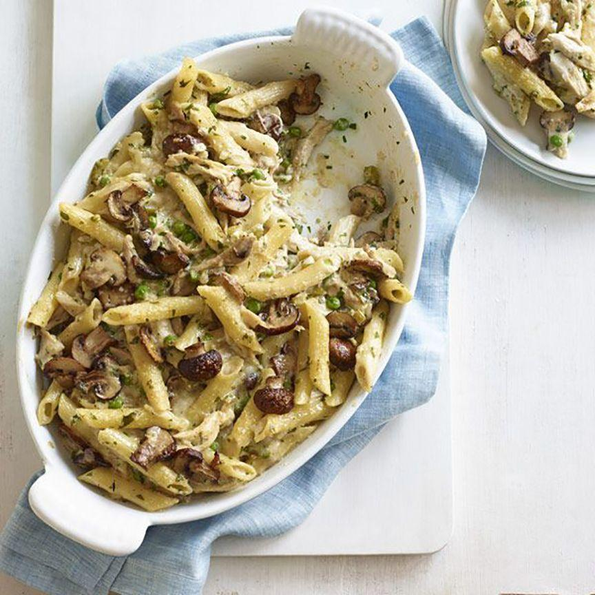 """<p>Use that leftover bird to bulk up baked pasta with mushrooms and penne. </p><p><a href=""""https://www.goodhousekeeping.com/food-recipes/a11841/turkey-pasta-bake-recipe-wdy1114/"""" rel=""""nofollow noopener"""" target=""""_blank"""" data-ylk=""""slk:Get the recipe for Turkey Pasta Bake »"""" class=""""link rapid-noclick-resp""""><em>Get the recipe for Turkey Pasta Bake »</em></a><br></p>"""