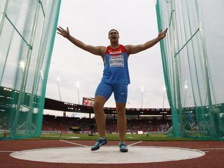 Viktor Butenko of Russia reacts during the men's discus qualifying round during the European Athletics Championships at the Letzigrund Stadium in Zurich August 12, 2014. REUTERS/Phil Noble
