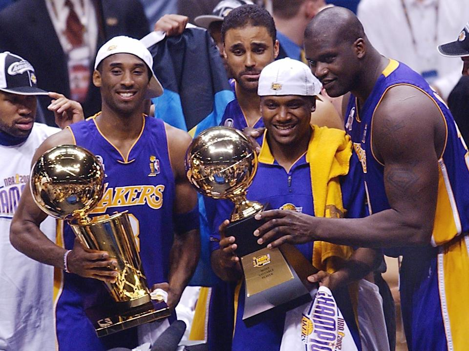 Kobe Bryant、Shaquille O'Neal是為近期唯一打下三連霸的雙人組合。(Photo by HENNY RAY ABRAMS/AFP via Getty Images)