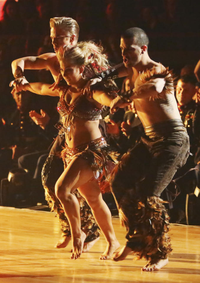 "Derek Hough, Shawn Johnson and Mark Ballas perform on ""Dancing With the Stars: All-Stars."""