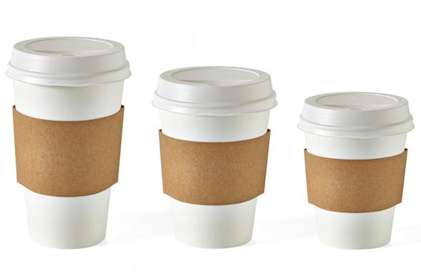 Coffee takeaway cups in three size on white background