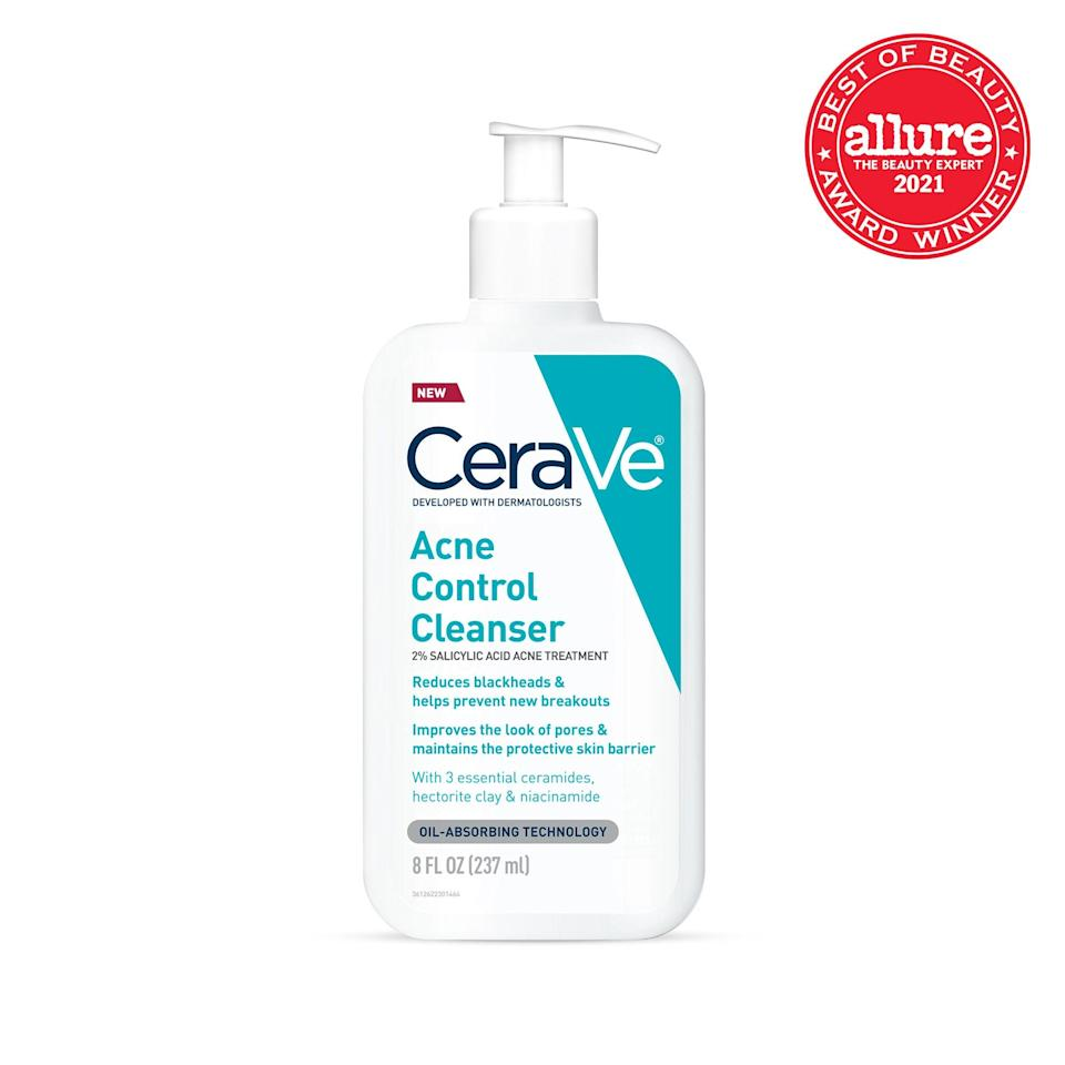 """<strong>CeraVe Acne Control Cleanser</strong> treats and prevents pimples with salicylic acid, while <a href=""""https://www.allure.com/story/what-is-niacinamide-skin-care-benefits?mbid=synd_yahoo_rss"""" rel=""""nofollow noopener"""" target=""""_blank"""" data-ylk=""""slk:niacinamide"""" class=""""link rapid-noclick-resp"""">niacinamide</a> and <a href=""""https://www.allure.com/story/what-are-ceramides?mbid=synd_yahoo_rss"""" rel=""""nofollow noopener"""" target=""""_blank"""" data-ylk=""""slk:ceramides"""" class=""""link rapid-noclick-resp"""">ceramides</a> exert a calming influence."""