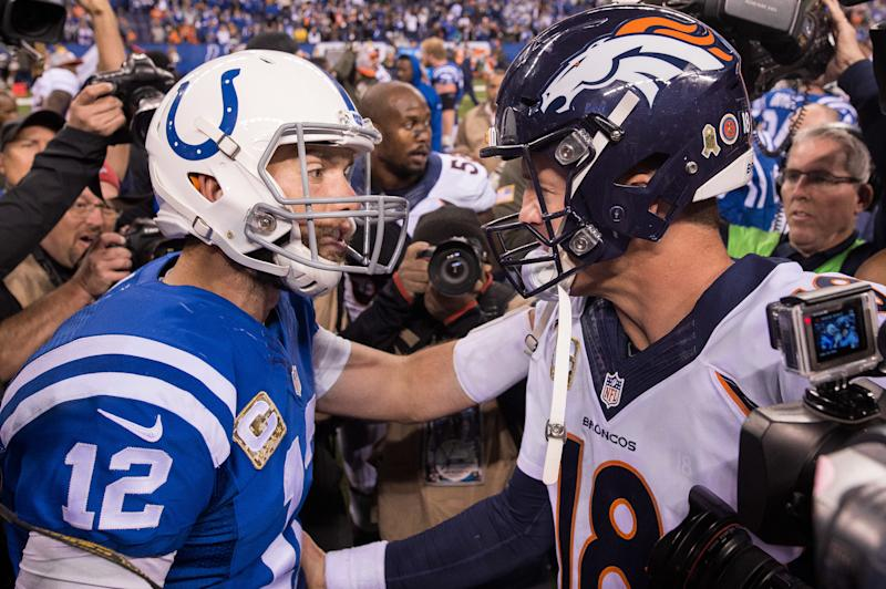 November 8, 2015: Indianapolis Colts quarterback Andrew Luck (12) and Denver Broncos quarterback Peyton Manning (18) talk on the field after a NFL game between the Indianapolis Colts and Denver Broncos at Lucas Oil Stadium in Indianapolis, IN. (Photo by Zach Bolinger/Icon Sportswire) (Photo by Zach Bolinger/Icon Sportswire/Corbis via Getty Images)