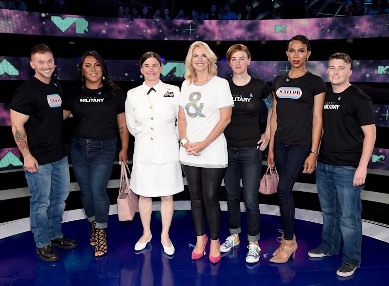 President of GLAAD Sarah Kate Ellis, center, with transgender members of the military at the VMAs: Sterling James Crutcher, Laila Ireland, Brynn Tannehill, Jennifer Peace, Akira Wyatt and Logan B. Ireland.