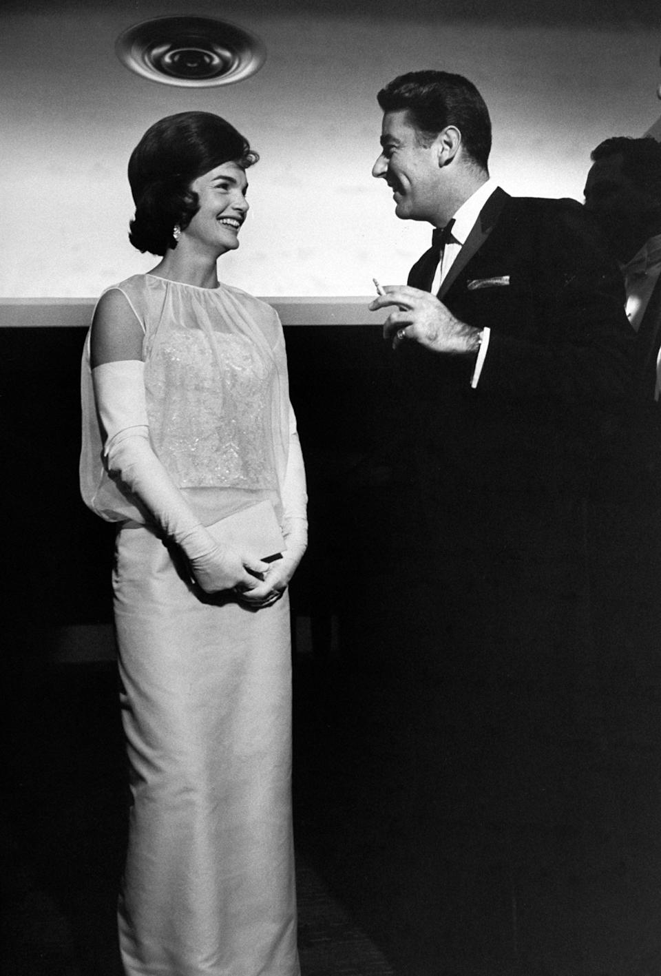Jackie Kennedy wore a figure-hugging gown in 1961 which was created by Ethel Frankau of Bergdorf Goodman's Custom SalonThe LIFE Picture Collection via