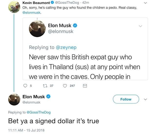 Musk responds to a person calling him out on the 'pedo' comment.