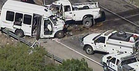 A still image of aerial video is shown of an accident scene involving a Texas church bus carrying senior citizens which crashed head-on with another vehicle about 80 miles west of San Antonio