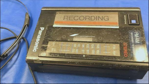 PHOTO: A cassette player found at Danny Rolling's campsite in Gainesville, Florida. Rolling, who confessed to killing five college students in the city, sang on the tape, 'Mystery rider, what's your name? You're a killer, a drifter, gone insane.' (Courtesy of the Alachua County Sheriff's Office )