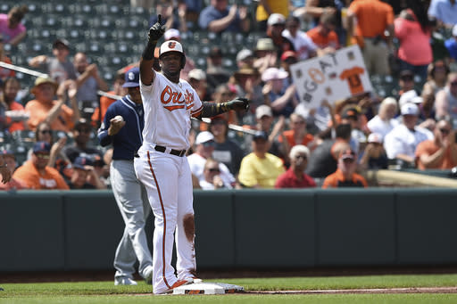 Baltimore Orioles' Hanser Alberto reacts after hitting a triple against the San Diego Padres in the first inning of a baseball game Wednesday, June 26, 2019, in Baltimore. (AP Photo/Gail Burton)