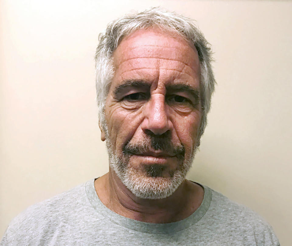 """FILE - This March 28, 2017, file photo, provided by the New York State Sex Offender Registry, shows Jeffrey Epstein. The filmmakers behind the Lifetime docuseries """"Surviving Jeffrey Epstein"""" have had to regroup twice ahead of its Sunday premiere. First was after Epstein died by suicide in his prison cell last August after his arrest on sex trafficking charges. And again one month ago when Ghilaine Maxwell was arrested on federal charges that she acted as a recruiter for the financier. The producers added more of Maxwell's story and changed the final episode to focus on her alleged grooming of potential victims. (New York State Sex Offender Registry via AP, File)"""