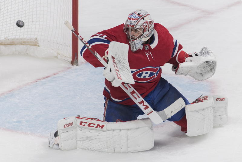Montreal Canadiens goaltender Carey Price allows a goal during second period NHL hockey action against the Buffalo Sabres, in Montreal, Saturday, March 23, 2019. (Graham Hughes/The Canadian Press via AP)