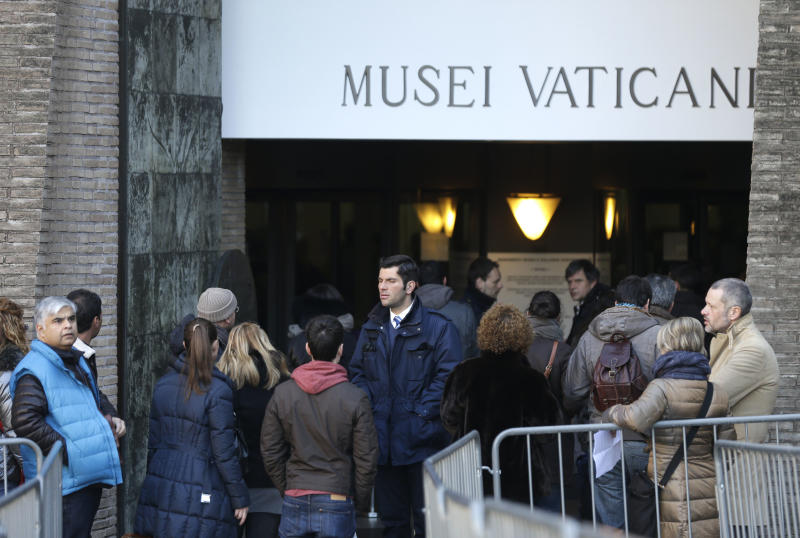"People queue to enter the Vatican Museums, at the Vatican Thursday, Jan. 3, 2013. It's ""cash only"" now for tourists at the Vatican wanting to pay for museum tickets, souvenirs and other services after Italy's central bank decided to block electronic payments, including credit cards, at the tiny city state. The Italian daily Corriere della Sera reported Thursday that Bank of Italy took the action because the Holy See has not yet fully complied with European Union safeguards against money laundering. That means Italian banks are not authorized to operate within the Vatican, which is in the process of improving its mechanisms to combat laundering. The Vatican says it's scrambling to find a non-Italian bank to provide the electronic payment services ""quite soon"" but declined to discuss Bank of Italy's concerns. The central bank had no immediate comment on the situation. (AP Photo/Alessandra Tarantino)"