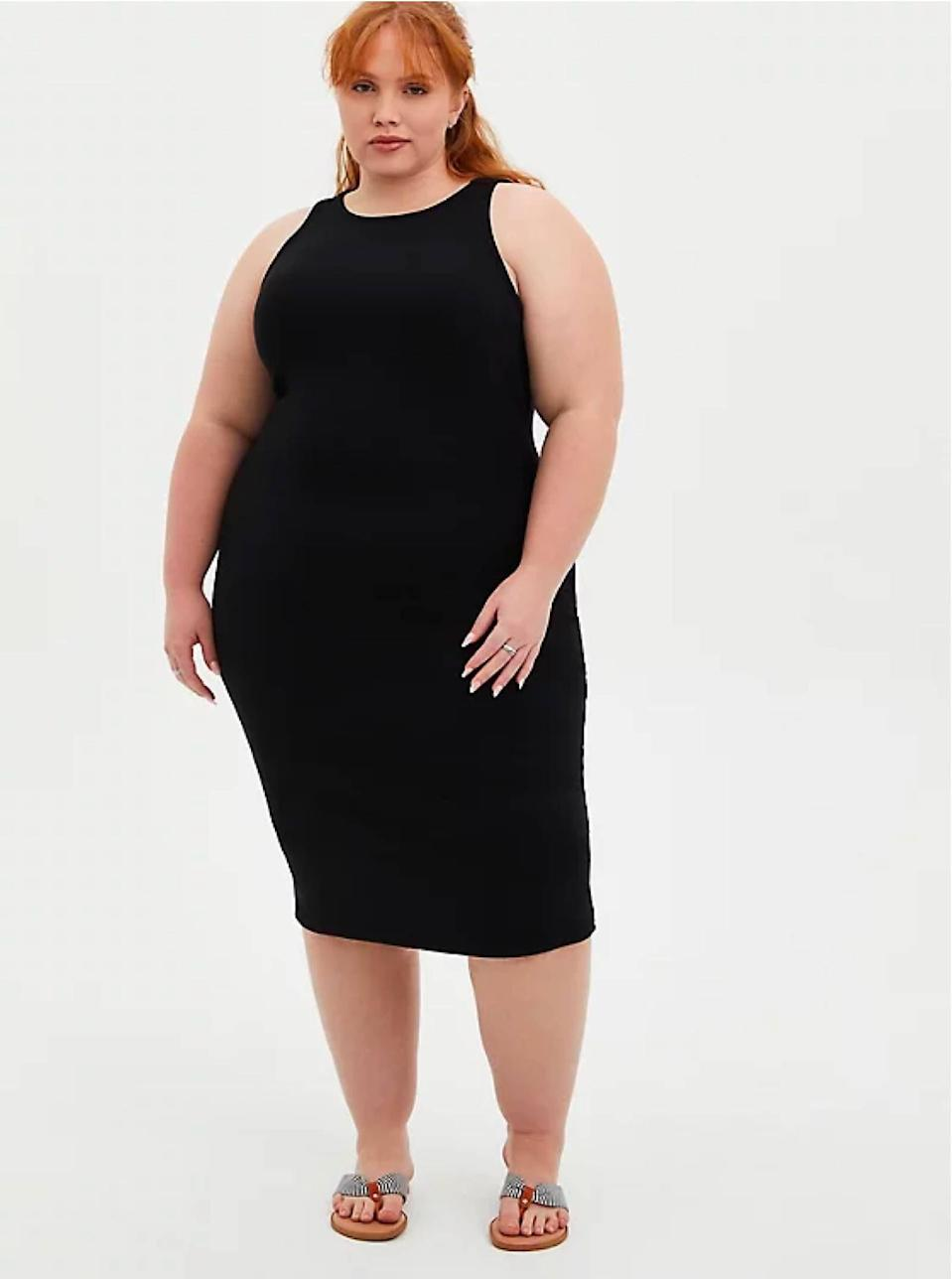 """Need something you can wear from the BBQ to the bar? A curve-hugging LBD it is. $66, Torrid. <a href=""""https://www.torrid.com/product/black-rib-bodycon-dress/14938664.html?"""" rel=""""nofollow noopener"""" target=""""_blank"""" data-ylk=""""slk:Get it now!"""" class=""""link rapid-noclick-resp"""">Get it now!</a>"""