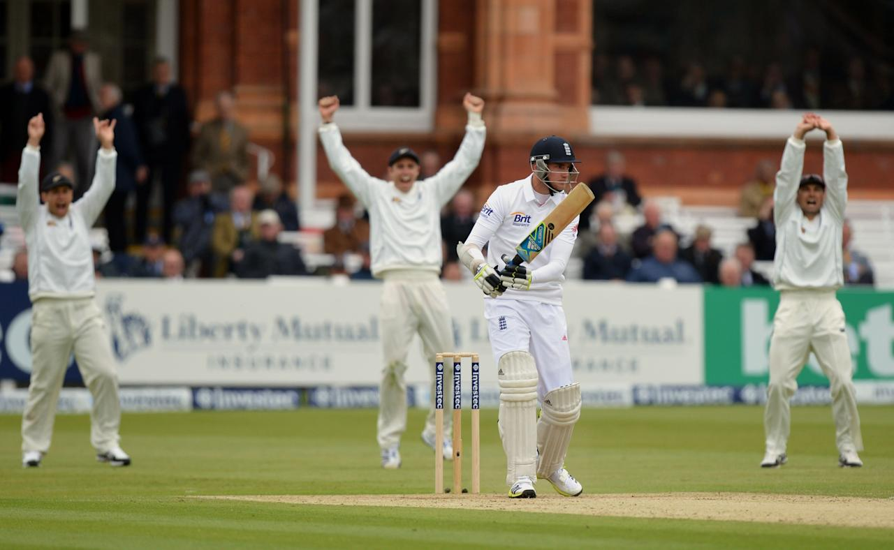 England's Stuart Broad is given out lbw for 0 during the first test at Lord's Cricket Ground, London.