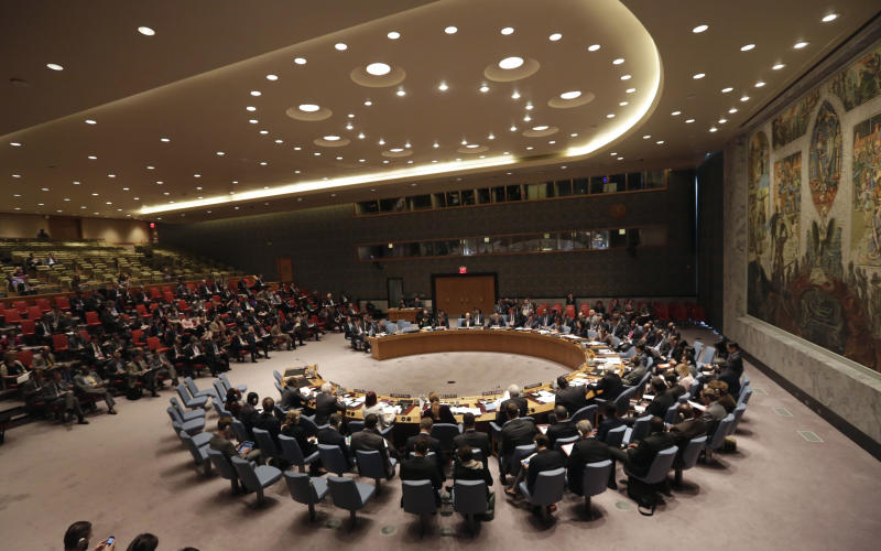 The U.N. Security Council meets in emergency session on Ukraine after Russia called for a public meeting on the growing crisis there, at UN headquarters Friday, May 2, 2014. (AP Photo/Richard Drew)