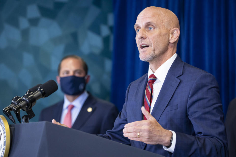 Dr. Stephen Hahn, the commissioner of the Food and Drug Administration, speaks during a coronavirus task force news conference in Rockville, Md., June 30, 2020. (Samuel Corum/The New York Times)