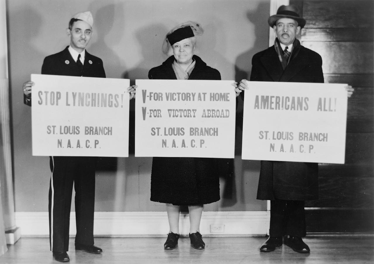 <p>Members of the St. Louis Branch of the NAACP call for victory at home and abroad and an end to racial violence. (Visual Materials from the NAACP Records, Prints and Photographs Division, Visual Materials from the NAACP Records, Library of Congress, Washington, D.C.) </p>