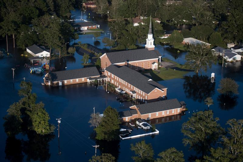 Floodwaters inundate a church after Hurricane Florence struck the Carolinas in Conway, South Carolina.